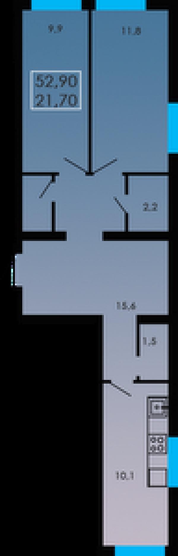 Планировки двухкомнатных квартир 52.9 м^2